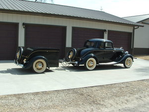 1934 Ford 1934 5-window rumble seat coupe w/ trailer