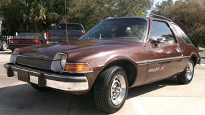 1977 AMC Pacer X, 1976 Pacer DL, and 1987 Eagle Wagon